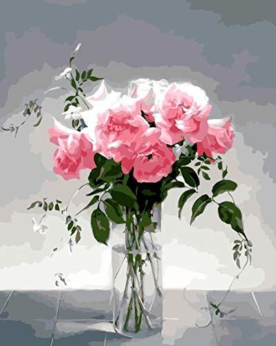 Malen Nach Zahlen Für Erwachsene Anfänger Hause Wanddekor Rosa Rose Blumen Mit Glas Acryl Malerei DIY Geschenk-No Frame 40X50Cm