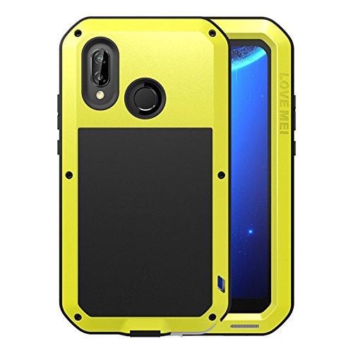Simicoo Huawei P20 Lite Aluminium gehäuse Hybrid Metall Hülle Stoßfest Schutz Bumper Militär Starkes Silikon Schraube Gorilla Glas staubdicht stoßen Heavy Duty Handyhülle für P20 Lite(Yellow) (Gorilla-glas-aluminium-metallgehäuse)