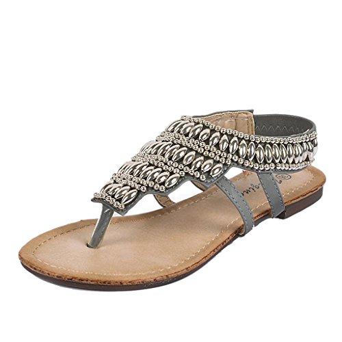 ndals Frauen Sommer Strand Sandalen Perlen Metallic ethnischen Stil Hausschuhe (Farbe : Grau, größe : 38/UK5.5/US6.5/240mm) (Uk National Kostüm Für Kinder)
