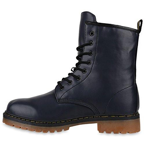 Geschnürte Herren Worker Boots Camouflage Army Look Schuhe Dunkelblau Braun