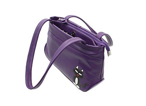 Mala en cuir TEDDY Collection en cuir souple double bandoulière Sac 787_82 Noir violet