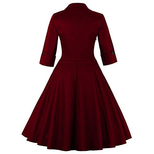 Dissa M1323 Damen 50er Retro Cocktail Vintage Rockabilly Kleid Wein Rot Schmetterling