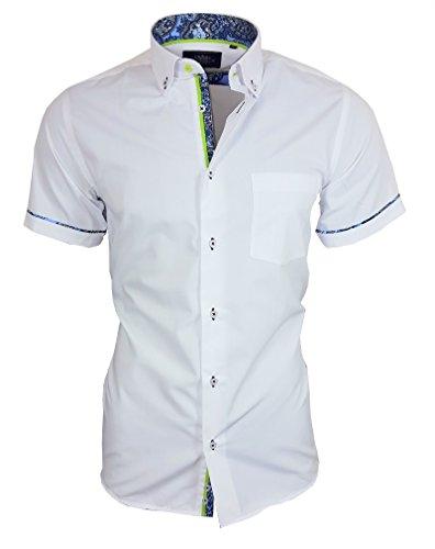 Louis Binder de Luxe Herren Hemd mit Brusttasche Kurzarm Shirt Modern Fit Button-Down-Kragen 82913 Weiß M (Kragen Kurzarm-hemd Weißes Mit)