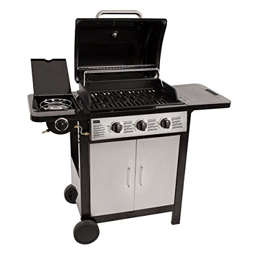 Charles Bentley 4 Burner (3 + 1 Side) Stainless Steel Gas Bbq Outdoor Garden Grill - Black and Silver