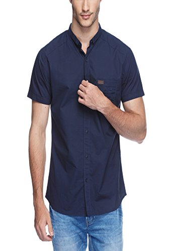Spykar Mens Blue Slim Fit Mid Rise Casual Shirts