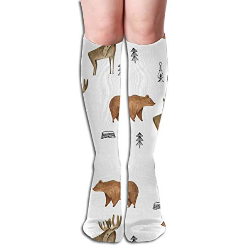 Women's Fancy Design Stocking Bear Moose Forest Boy Woodland Forest Trees Minimal For Boys Multi Colorful Patterned Knee High Socks 50cm(19.6Inchs)