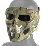 DETECH - Maschera Tattica da Paintball, con Teschio, Traspirante, da Uomo, per Caccia, Softair e Feste di Halloween, CP