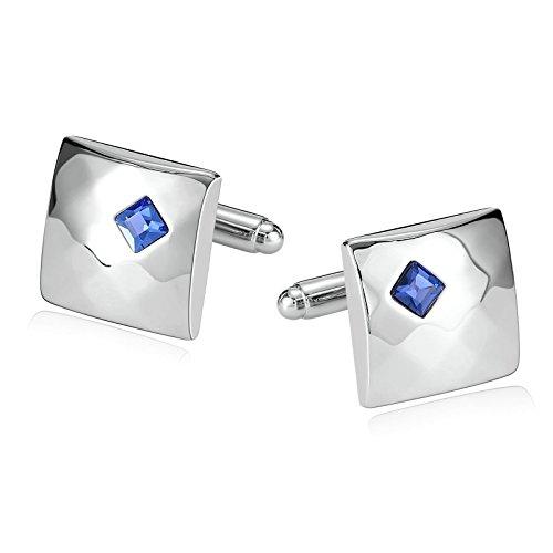 Aooaz Gioielli gemelli acciaio uomo Abito da camicia quadrato blu argento Single Square 1,8X1,8CM gemelli camicia uomo matrimonio Blu argento