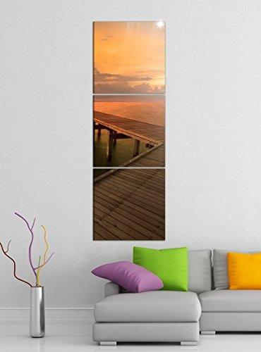 Acrylglasbilder 3 Teilig 50x150cm Steg Holz Pier Meer Sonnenuntergang vertikal Druck Acrylbild Acrylbilder Acrylglas 14?6996, Acrylgröße 9:Gesamt 50x150cm