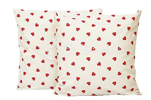 R.p. coppia cuscini arredo cuoricini love country chic, imbottitura + federa con zip 100% made in italy - cm 40x40