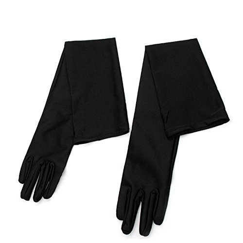 ge Hochzeit Handschuhe, elastische Brauthandschuhe für Hochzeit Party Abschlussball (Schwarz) (Schwarzes Langes Abend Handschuhe)