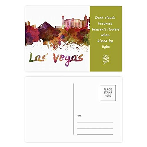Las Vegas America City Watercolor Poesie Postkarten-Set, Danksagungskarte, Postkarte, 20 Stück