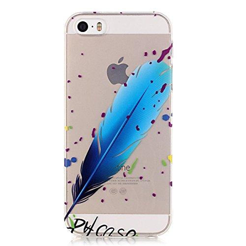 iPhone 5S Hülle Case,iPhone SE Hülle Case,Gift_Source [Crystal Clear] Fashion Colorful Silicone Protective Hülle Case Premium Flexible Transparent Soft TPU Slim Hülle Case Cover für iPhone SE/5S/5 [Pl E01-07-Blau Feather