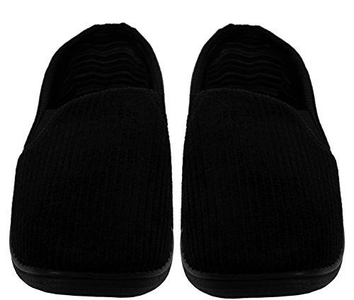 A&H Footwear ,  Herren Flache Hausschuhe Black/Corduroy