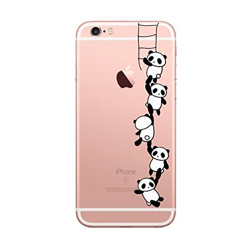iPhone 6S Hülle, Yimier® transparentes TPU Case Silikon der Tiere Backcover Handyhülle kreatives Design Panda Muster bedecken zurück für Apple iPhone 6 / 6s 4,7 Zoll 2