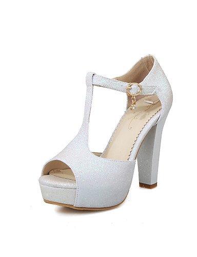 UWSZZ IL Sandali eleganti comfort Scarpe Donna-Scarpe col tacco-Formale / Casual / Serata e festa-Tacchi / Spuntate / Plateau-Quadrato-Lustrini-Nero / Viola / Bianco / White