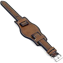 DASSARI Analogue Vintage Italian Leather Bund Watch Strap in Dark Brown 20mm