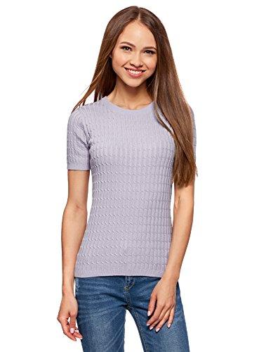 oodji Ultra Damen Kurzärmliger Pullover mit Zopfmuster, Violett, DE 40 / EU 42 / L - Pflaume-pullover-strickjacke