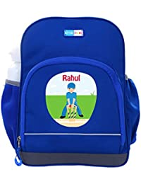 UniQBees Personalised School Bag With Name (Little Life Pre-School Backpack-Blue-Cricket 3)