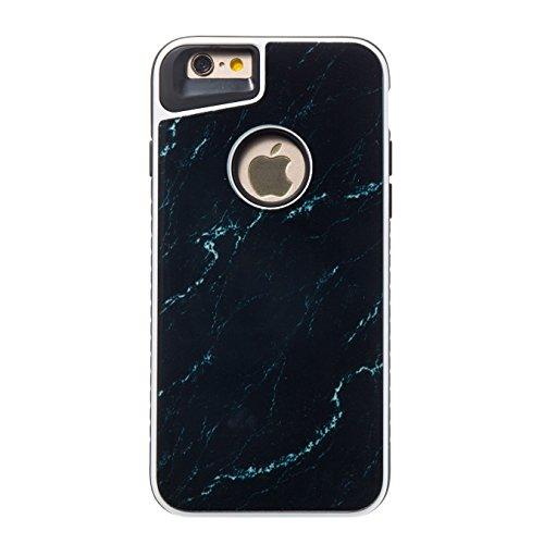 """Case avec Marble Effect Naturel pour iphone 6 / 6S (4.7"""") , Sunroyal Marble Pattern Dual Layer PC Souple Silicone TPU Coque Shell Flexible Soft Caoutchouc Gel coquille Etui Housse Motif Marbre Grain B Noir"""