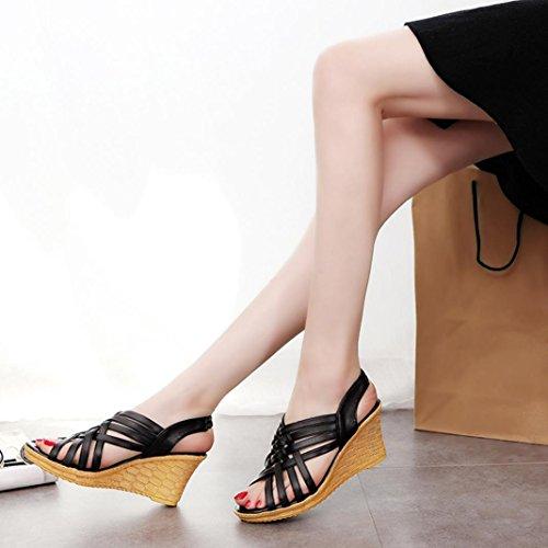 OverDose Damen Frauen Schuhe Sommer Hoch Plattformen Ausschnitt Muster Checkered Gürtel Gladiator Sandalen Schuhe Schwarz