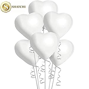 Shatchi 10021 - Globos de Helio con Forma de corazón (50 Unidades), Color Blanco