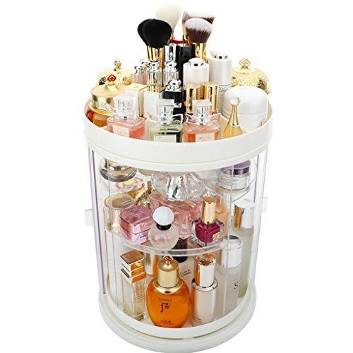 Acryl Klar Makeup Organizer Plattenspieler, staubdicht 360 ° rotierender Cosmetic Organizer Lagerregal, Lippenstift-Hautpflege-Organisator Countertop