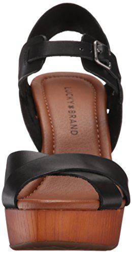 Lucky Brand Nova Femmes Cuir Sandales Compensés Black