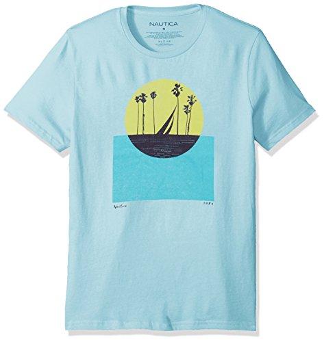 Nautica Herren Short Sleeve Signature Graphic Crewneck T-Shirt, Harbor Mist, XX-Large -