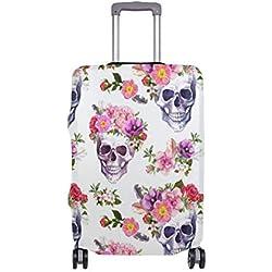 MyDaily - Funda para maleta de 18 a 32 pulgadas, diseño de calavera y flores