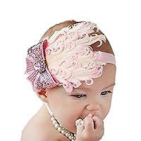 Hooyi Baby Girl Feather hairband Kid Flower Head Band Girl Hair Accessories (Pink)