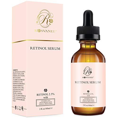 Retinol Serum von ROSVANEE, 60 ml - Hochdosiert mit 2.5% Retinol, Hyaluronsäure, Vitamin C & E, Anti Aging Gesichtsserum für...