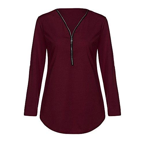 BHYDRY Damen Casual Tops Shirt Damen V-Ausschnitt Reißverschluss Loses T-Shirt Bluse ()