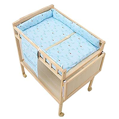 Wood Baby Changing Table with Cotton Pad,Multi-Function Diaper Station w/Wheels Bathing Care Table