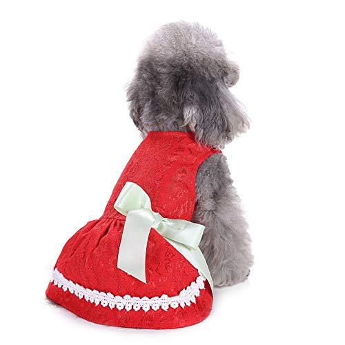CLLUZU Weiches Hundekleid Hunde Katzen Bowknot Polyester Rock Haustier Prinzessin Kostüm rot