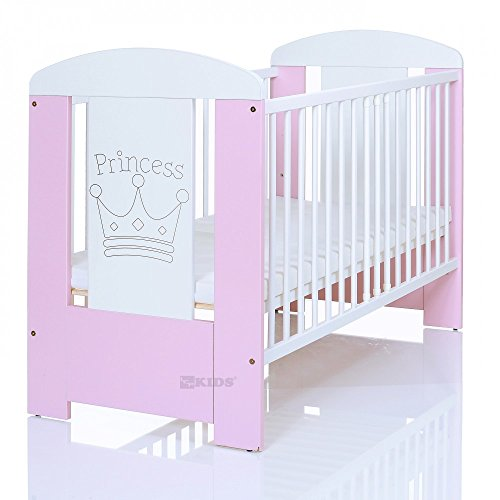 Kinderbett 120x60 inkl. Matratze 3-fach höhenverstellbar | 3 Schlupfsprossen | weiß-rosa
