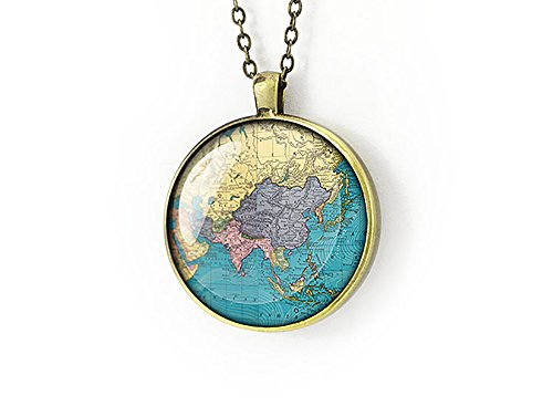 Asia 1889 mappa Collana gift for her,