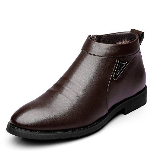 Sunny&Baby Botas de Invierno de los Hombres de Vlevet Retro cómodos Zapatos de Nieve de Cuero...