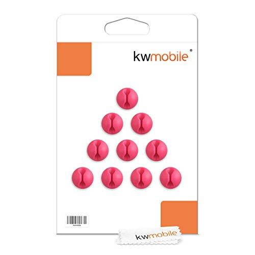 kwmobile 10x Kabelhalter – Mini Kabelführung für Schreibtisch in Pink - 6