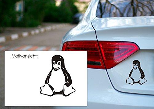 KFZ Aufkleber - LINUX TUX - Pinguin - Open Source Maskottchen- Autoaufkleber (140 mm x 100 mm, Grau)