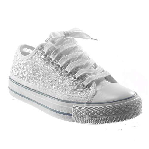 Angkorly - Damen Schuhe Sneaker - Spitze - Glitz Flache Ferse 2 cm - Weiß BL130 T 38