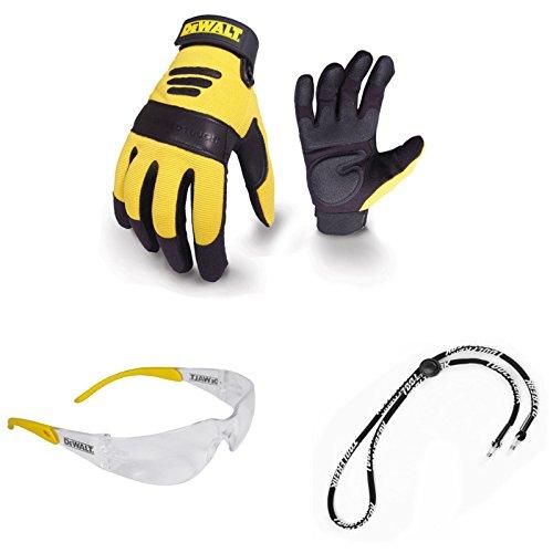 Dewalt-arbeits-handschuhe (Dewalt Arbeit Handschuh mit Gel Handflächen dpg21l mit Clear Lens Schutzbrille und Halskordel Bundle Deal X 3Elemente)