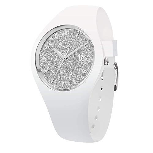 Ice-Watch - ICE glitter White Silver - Schwarze Damenuhr mit Lederarmband - 001351 (Medium)