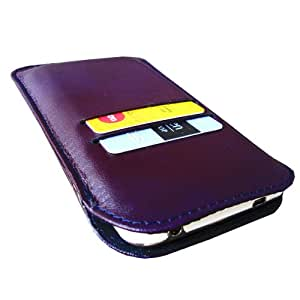 i-kitpit genuine leather waller flip case For SAMSUNG Galasy Note 1 in purple
