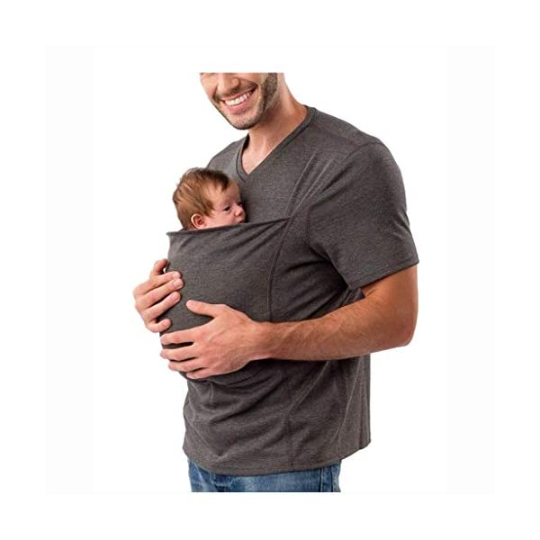 Pavilion Kangaroo Dad Men's T-shirt Short-Sleeved Stretchy Infant Sling Baby Carrier Shirt 2 in 1 Big Pocket (Size : L) Pavilion ✔Mom can easily comfort your newborn as the secure yet expandable pouch creating an intimate swaddle right. ✔Made of soft polyester, comfortable for wearing but sturdy enough to carry a new born baby. Soft and sturdy. ✔ the baby carrier shirt can become part of your everyday wardrobe by assisting you with the easy-to-use nursing bra. 1