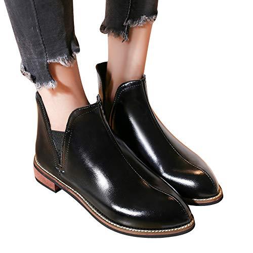 Toasye Frauen Runde Zehe Schuhe Volltonfarbe Booties Leder Quadrat Ferse Schuhe Boots Stiefel