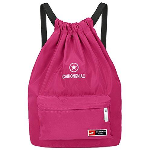 Imagen de  de cuerda para mujer, begreat bolsa plegable de tela, bolsa de ocio y de aptitude, para aire libre, viajes, escuela  rosa