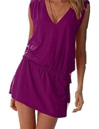 Aolevia Robe Deep V robe de plage Beach 9Coloration de voltage Bar (Violet)