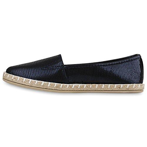 Damen Slipper Espadrilles Schuhe Flats Metallic Glitzer Slipper Dunkelblau Metallic