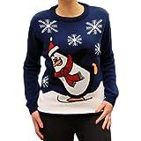 Weihnachtspullover - Schlittschuhlaufender Pinguin - Royalblau - M